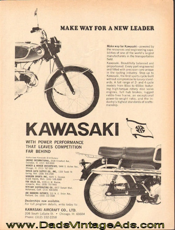 1966 Kawasaki ''Make Way For A New Leader'' Ad #d66ca04