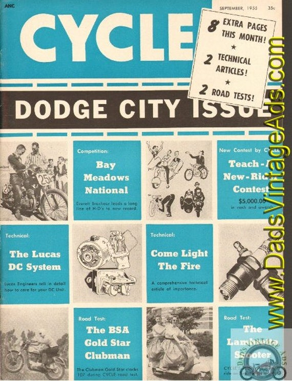 1955 September Cycle Motorcycle Magazine Back-Issue #5509cyc