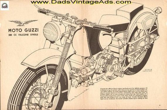 1952 Moto Guzzi 500cc Falcone Single 2-Page Cutaway Drawing #e52ba07