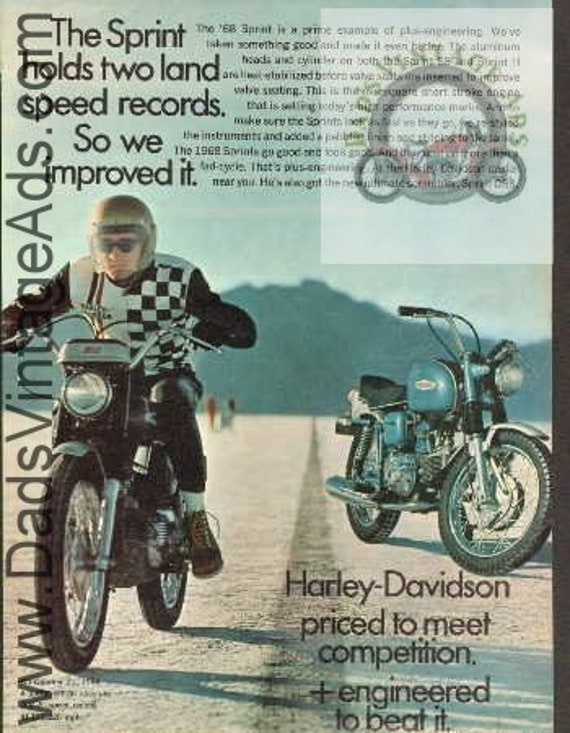1968 Harley-Davidson Sprint Land Speed Records Vintage Print Ad #b6804a12