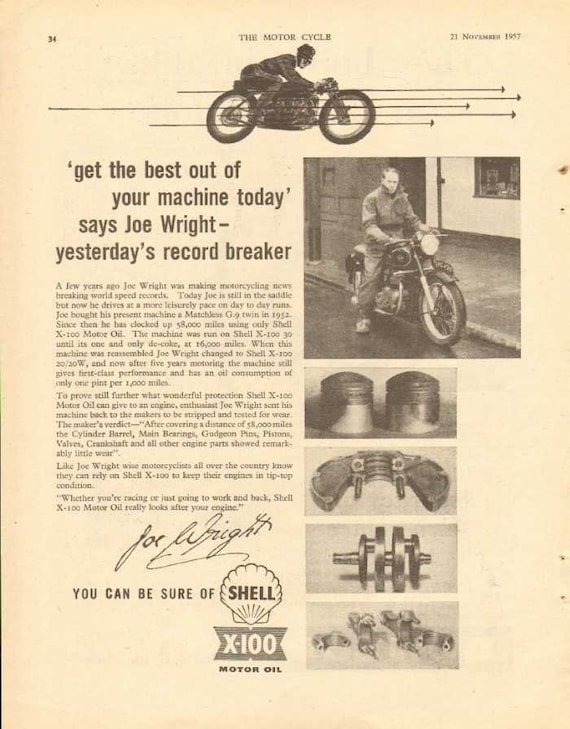 1957 Shell X-100 Motorcycle Motor Oil Joe Wright Racer Ad #ncc02