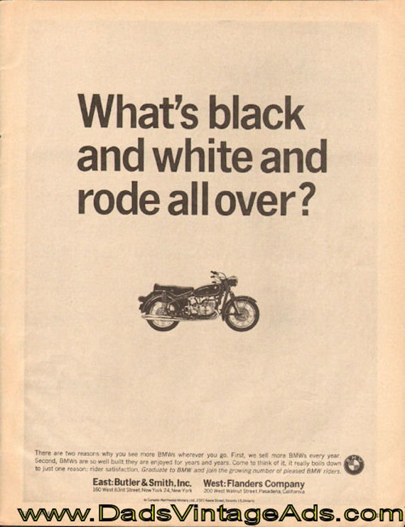 1964 BMW ''What's Black and White and Rode All Over'' Ad #d64ga14