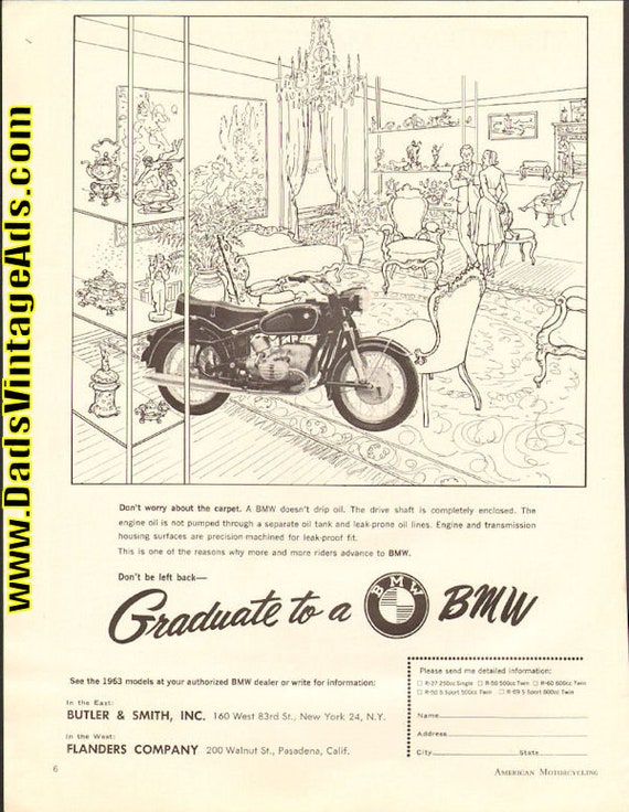 1963 ''Graduate to a BMW'' Motorcycle Ad #6301amot04