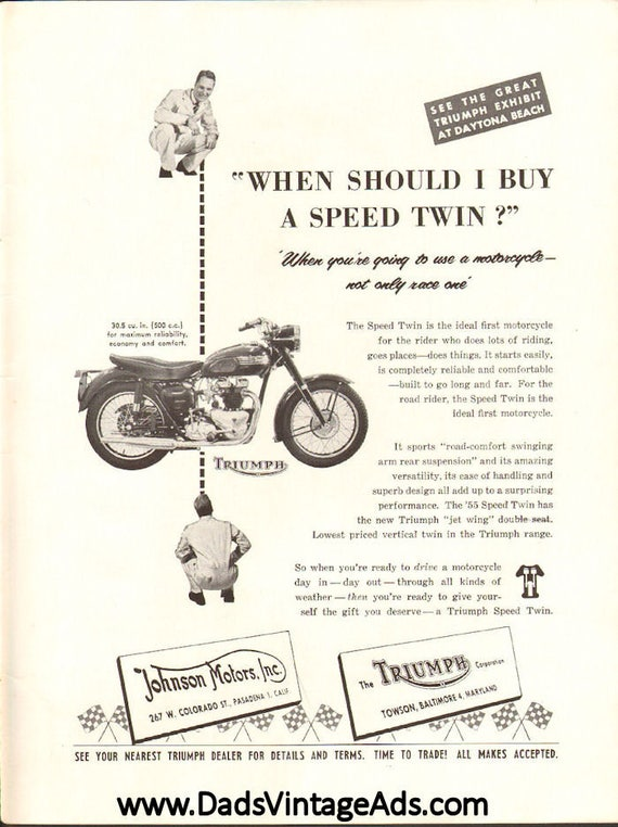 1955 Triumph Speed Twin Motorcycle Ad #5503amot07