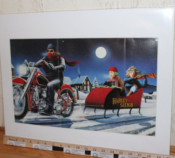 "David Mann ""Harley Sleigh Ride"" 16'' x 20'' Matted Motorcycle Biker Art #8812ezrxm"
