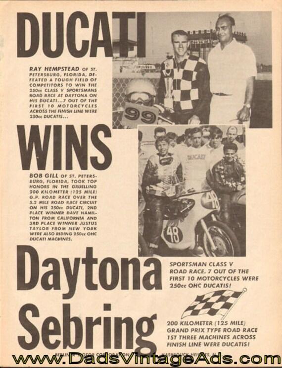 1964 Ducati Wins Daytona Sebring Ad #d64ga06