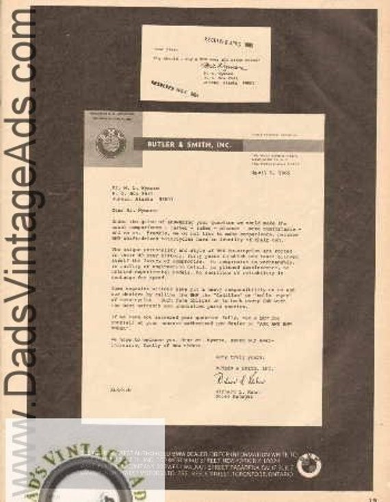 1965 BMW Butler & Smith, Inc. Letterhead Question Answered Ad #BV6506A23