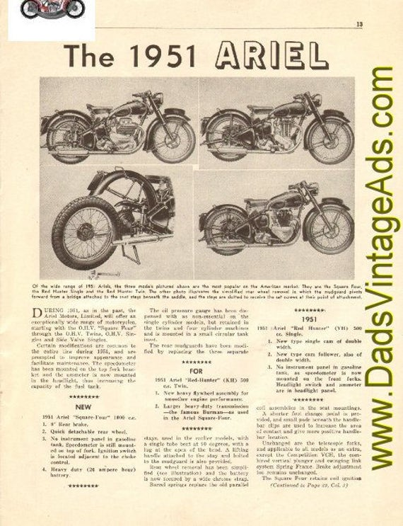 1951 Ariel Square Four / Red Hunter Single & Twin 2-Page Article #t50ka10