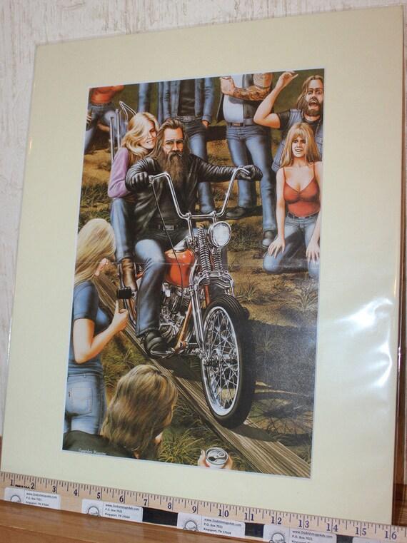 David Mann ''Plank Rider'' 16'' x 20'' Matted Motorcycle Biker Art #8303ezrxmc