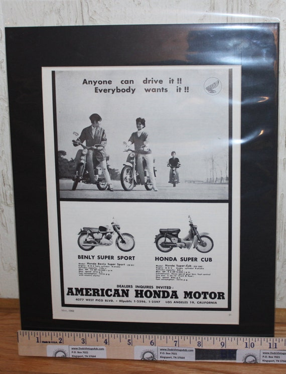"1960 Honda Benly / Super Cub Motorcycles 11"" x 14"" Matted Vintage Ad Art #6005amot03m"