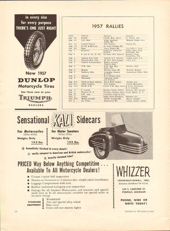 1957 Kali Sidecars Whizzer International 1/2-Page Vintage Ad #5708amot04