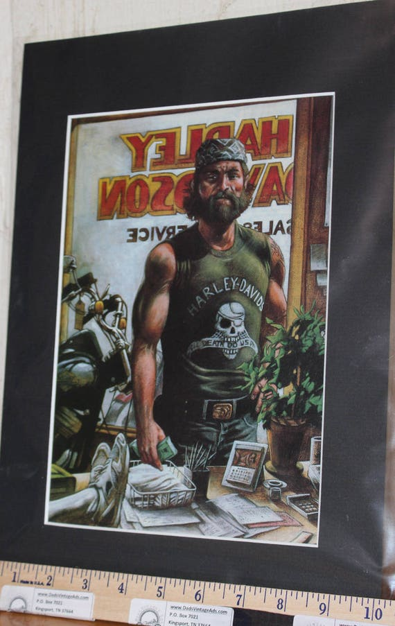 "Easyriders Harley-Davidson ''Til Death Do Us Part"" by by Duffy Duggan Matted Biker Motorcycle Art #8412ezrddm"