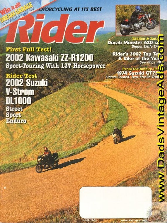 2002 June Rider Motorcycle Magazine Back-Issue #0206rdr