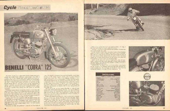 1965 Benelli Cobra 125 Motorcycle Road Test 2-Page Photo Article #naz01