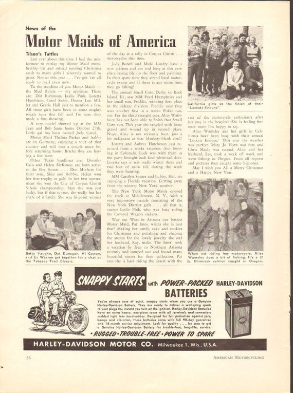 1957 Motor Maids of America News 1-Page Article #5712amot10