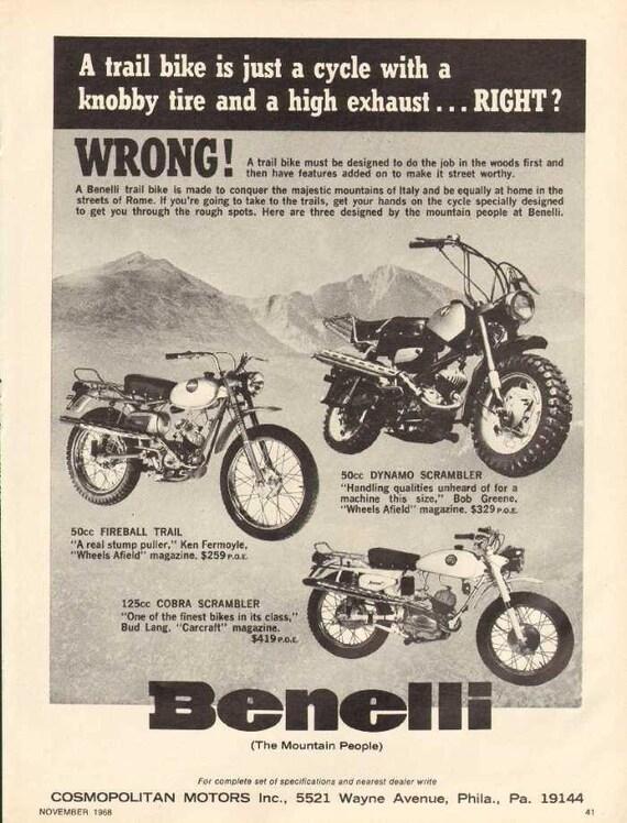 1968 Benelli Dynamo Fireball Cobra Scrambler Motorcycle Ad #nbe09
