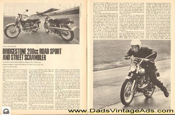 1969 Bridgestone 200cc Road Sport & Street Scrambler Road Test 4-Page Article #e69fa19