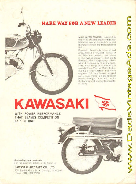 1966 Kawasaki ''Make Way For A New Leader'' Ad #t66ea03