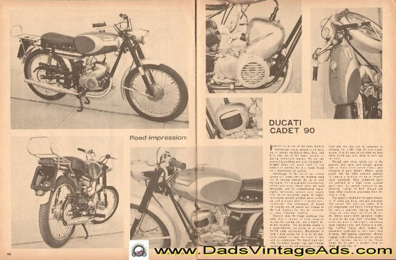 1965 Ducati Cadet 90 Motorcycle Impression 2-Page Article #d65ca23