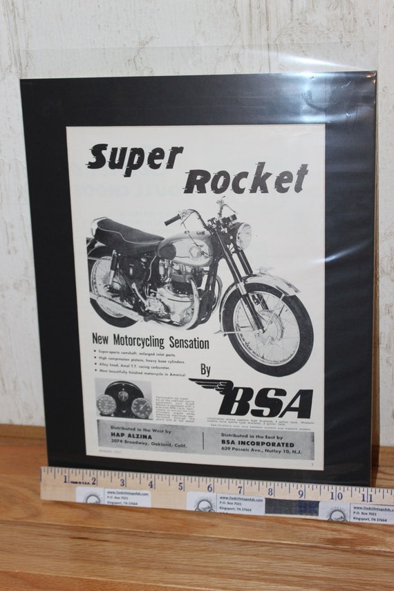1957 BSA Super Rocket 11'' x 14'' Matted Vintage Motorcycle Ad Art #5708amot06m