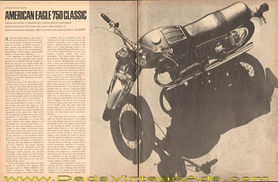 1969 American Eagle 750 Classic Road Test 5-Page Article #e69aa11