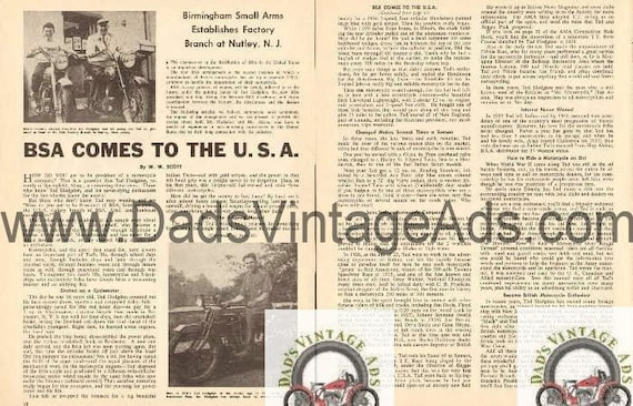 1954 BSA Comes To The USA President Ted Hodgdon 2-Page Article #b5409a03