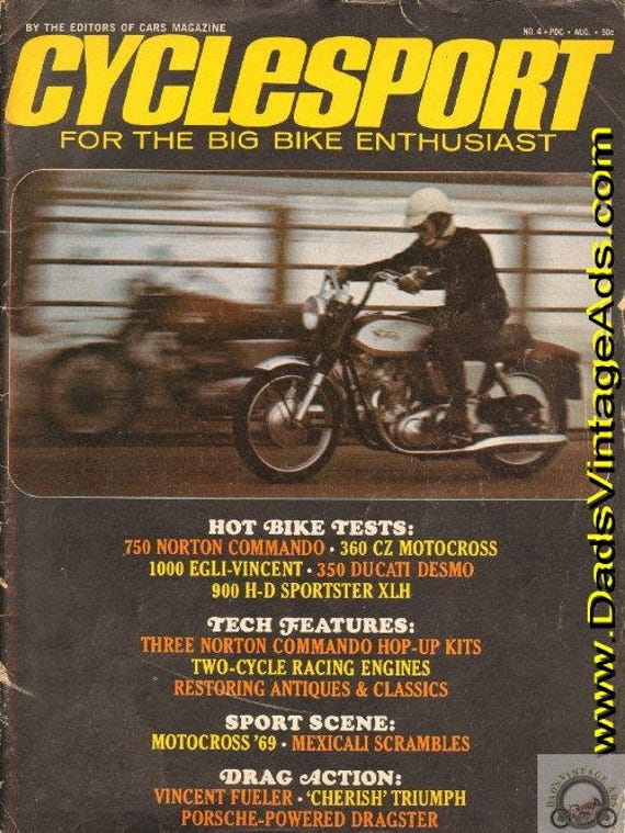 1969 August Cycle Sport Motorcycle Magazine Back-Issue #6908csp