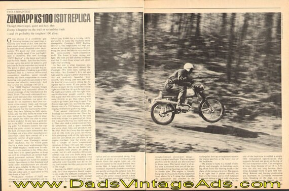 1968 Zundapp KS100 ISDT Replica Road Test 3-Page Article #e68ea15