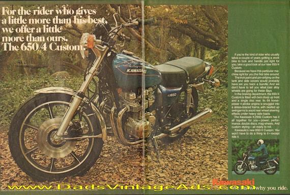 1977 Kawasaki KZ650 Four Custom Motorcycle 2-Page Ad #d77da08