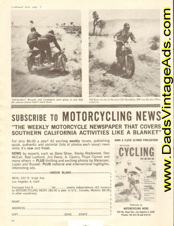 1962 Motorcycling News Magazine Subscription 1/2-Page Ad #e62ga04