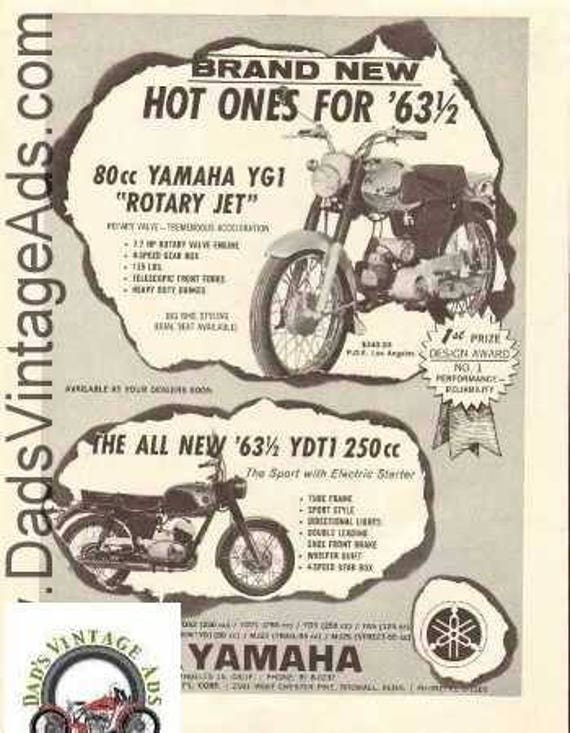1963 Yamaha 80 YG1 Rotary Jet YDT1 250 Sport Motorcycle Ad #nbx09