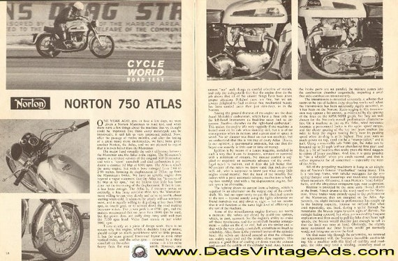 1963 Norton 750 Atlas Road Test Review / Specs / Performance 4-Page Article #d63ca04