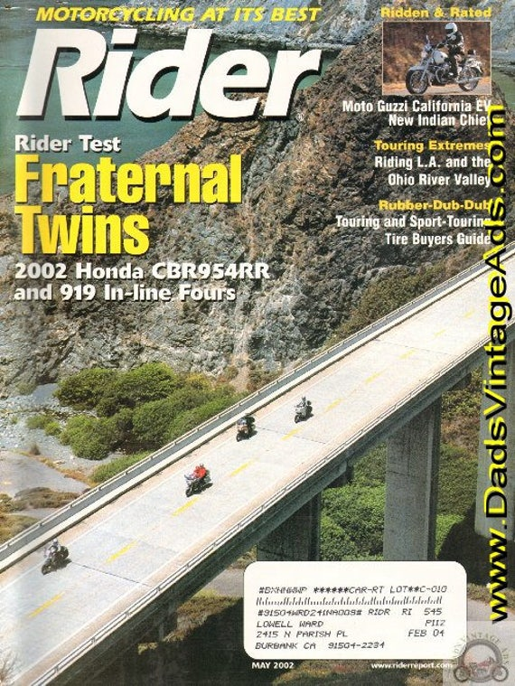 2002 May Rider Motorcycle Magazine Back-Issue #0205rdr