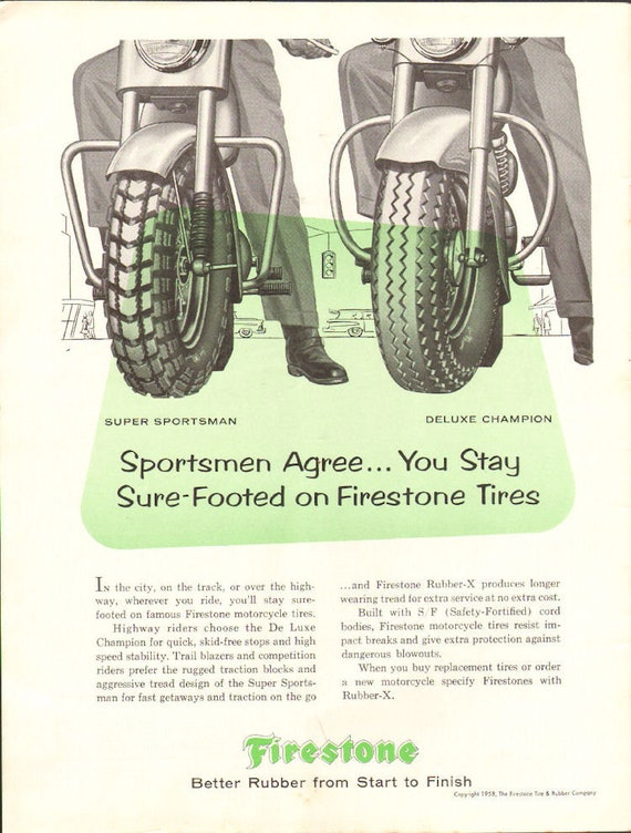 1958 Firestone Motorcycle Racing Tires Ad #5809amot12