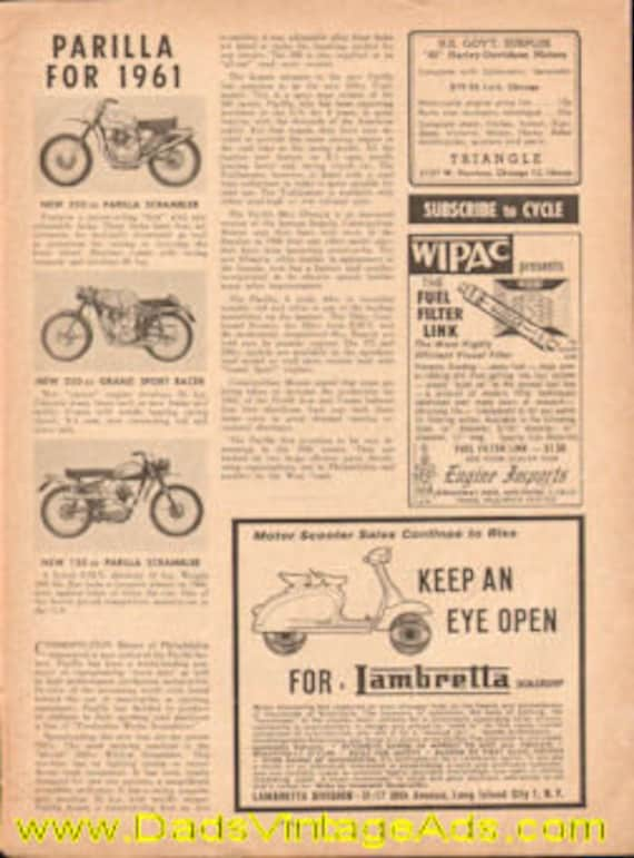 1961 Parilla Motorcycles 1-Page Article #e61da04
