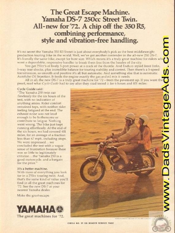 1972 Yamaha DS-7 250cc Street Twin - The Great Escape Machine Ad #e72ga09
