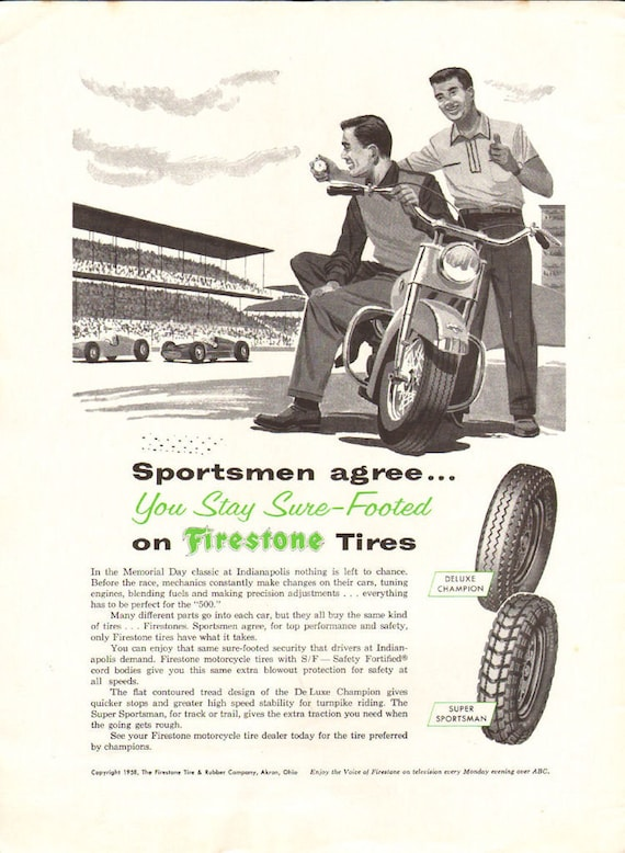 1958 Firestone Motorcycle Tires Indianapolis 500 Ad #5805amot13