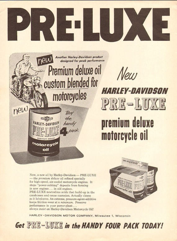 1958 Harley-Davidson Pre-Luxe Motorcycle Oil Ad #5805amot07