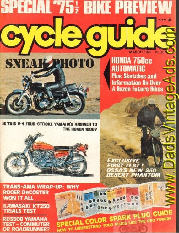 1975 March Cycle Guide Motorcycle Magazine Back-Issue #7503cg