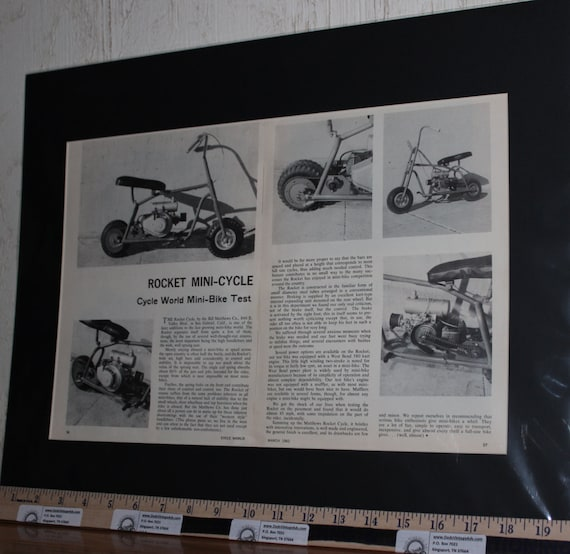1962 Rocket Mini-Cycle - Mini-Bike Test 16'' x 20'' Matted Vintage Print Article / Art / Poster d62ca01m