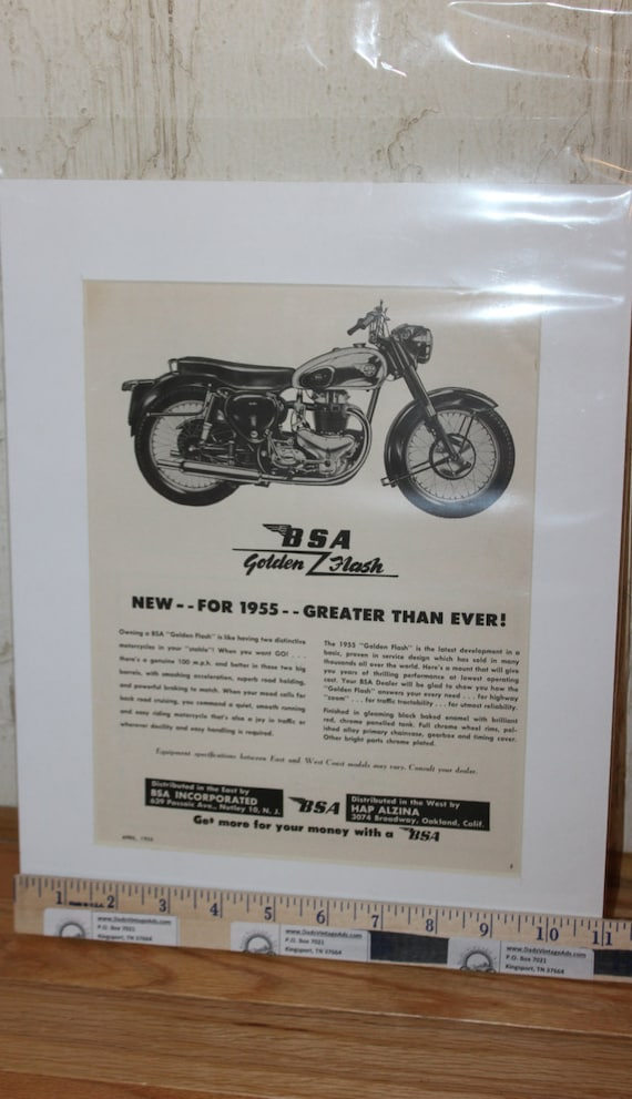 1955 Vintage BSA Golden Flash Motorcycle 11'' x 14'' Matted Print Art Ad #5504mc10m