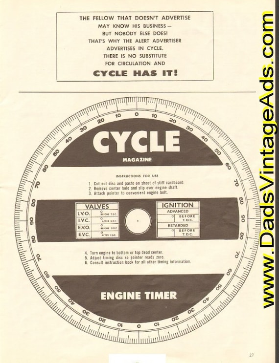 1962 Cycle Magazine ''Cut-Out'' Engine Timer Ad #e62ga12
