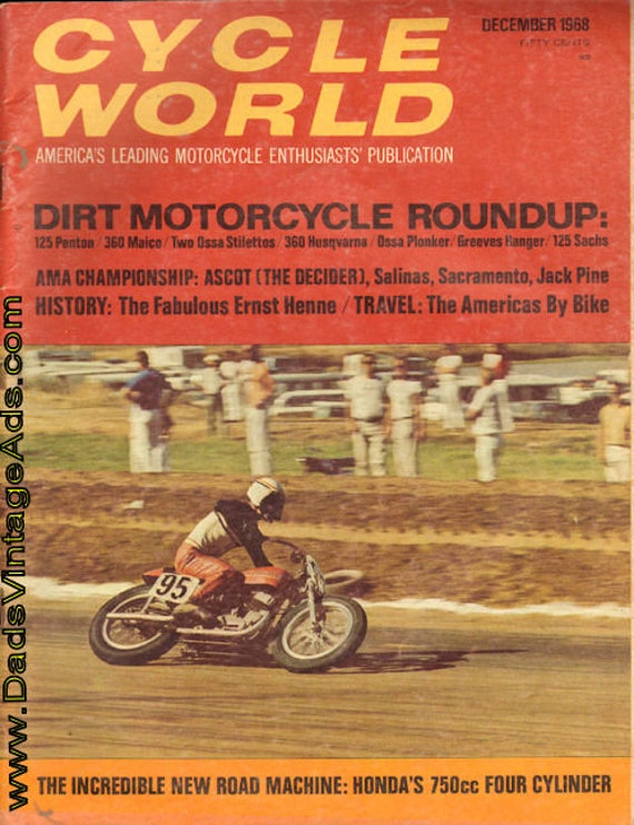 1968 December Cycle World Motorcycle Magazine Back-Issue #6812cw