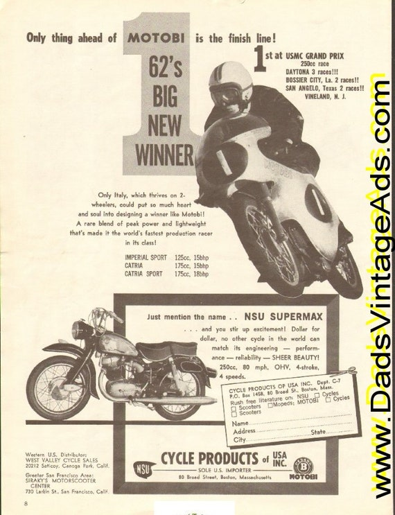 1962 Motobi Jess Thomas #1 at USMC Grand Prix / NSU Supermax Ad #e62ga17