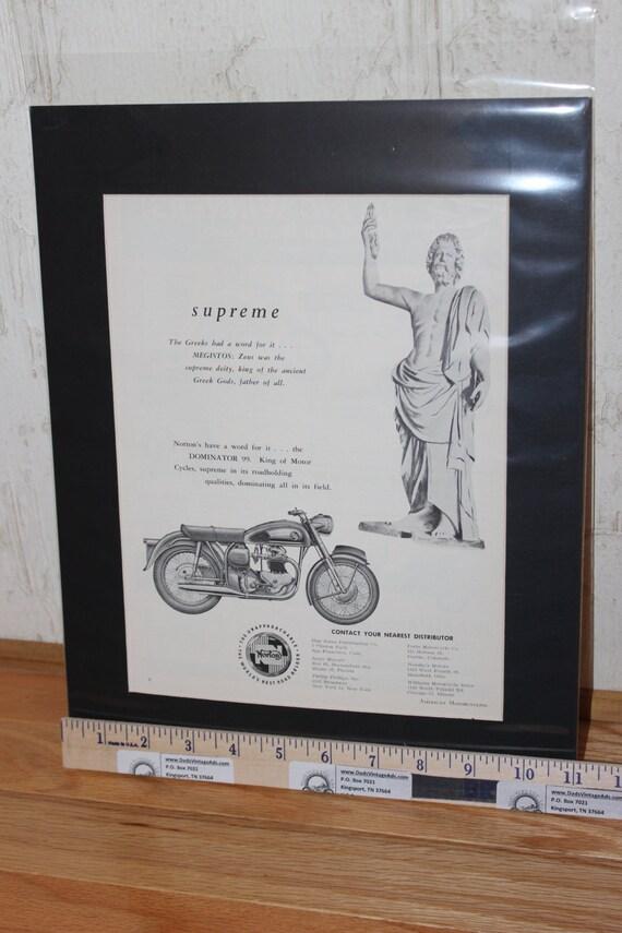 "1958 Norton Dominator 99 ""Supreme"" 11"" x 14"" Matted Vintage Ad Art #5807amot08m"