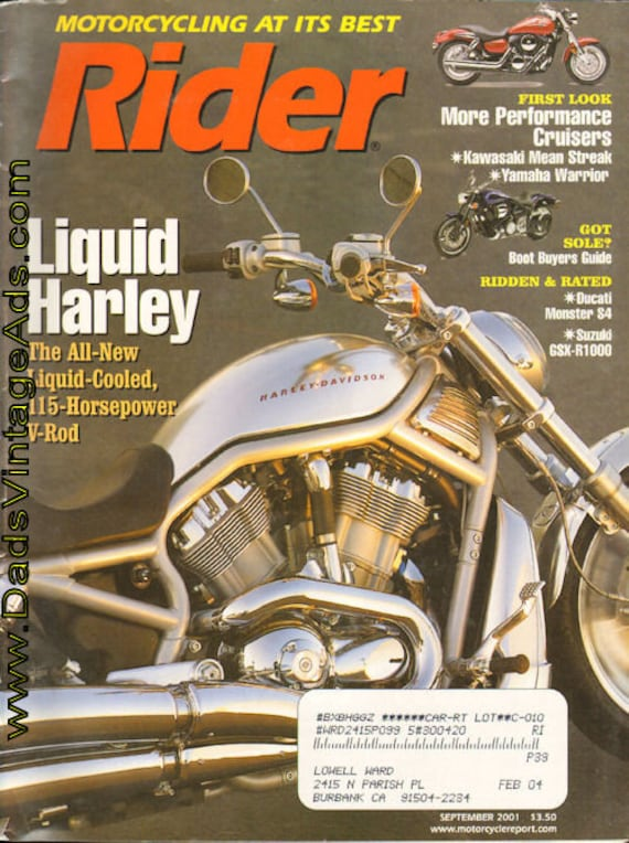 2001 September Rider Motorcycle Magazine Back-Issue #0109rdr