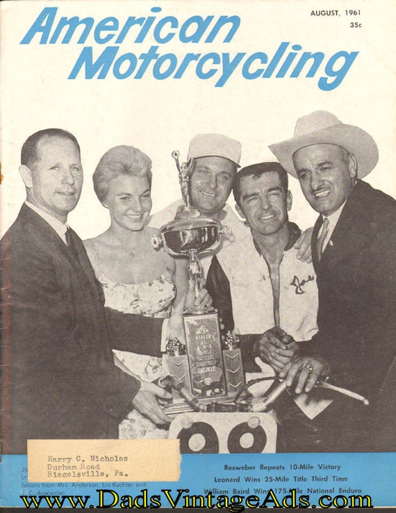 1961 August American Motorcycling Motorcycle Magazine Back-Issue #6108amot