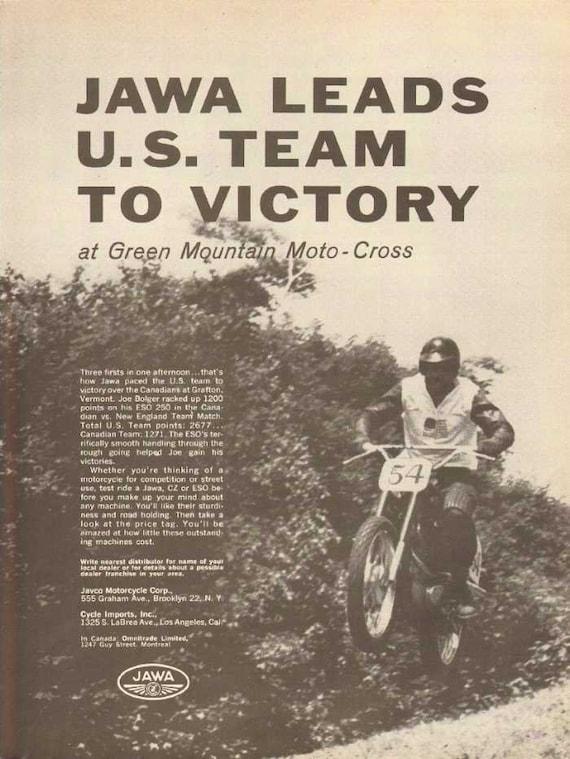 1962 Jawa Green Mtn Motocross Motorcycle Race Victory Ad #nbp06
