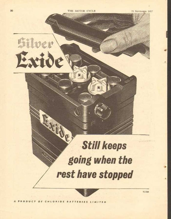 1957 Silver Exide Motorcycle Chloride Battery Ad #ncc04