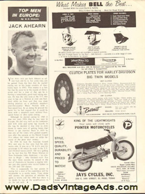 1963 Motorcycle Racer Jack Ahearn 1-Page Article #d63ka09
